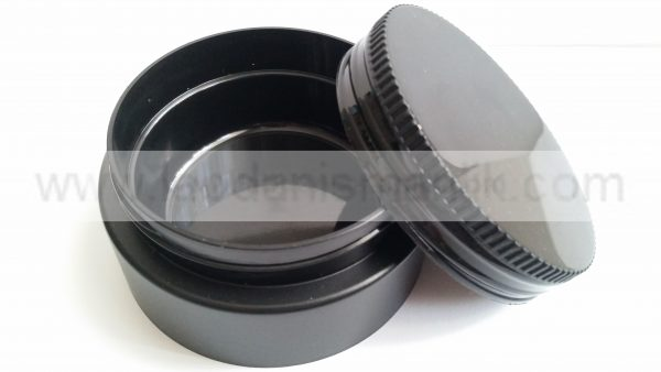 250 ml lik Siyah Plastik Kavanoz ( İç içe geçmeli )- Tırtıklı Kapak
