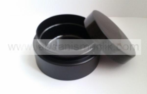 250 ml lik Siyah Plastik Kavanoz ( İç içe geçmeli )- Tırtıksız Kapak