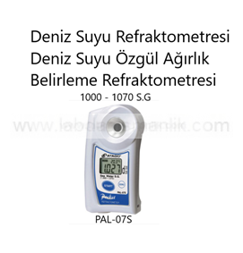 Refraktometre – Atago PAL-07S Refraktometre – Deniz Suyu Refraktometresi – Deniz Suyu Özgül Ağırlık Belirleme Refraktometresi – Ölçüm Aralığı: 1000 – 1070 S.G.