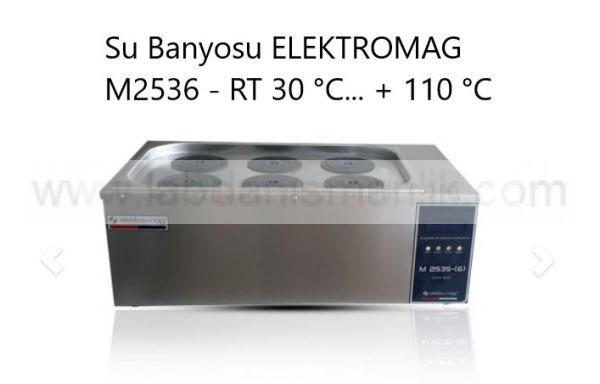 Su Banyosu ELEKTROMAG M2536 – RT 30 °C… + 110 °C – Altı göz, çift sıra halkalı kapak, PID mikroprosessör kontrollü dijital termostat – timer