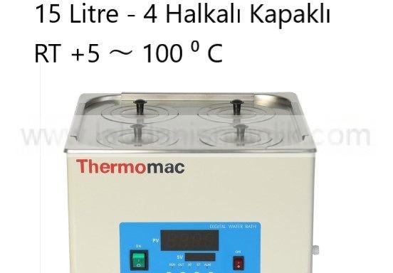Su Banyosu Thermomac 15 Litre 4 Halkalı Kapaklı –  RT +5 ~ 100 ⁰ C